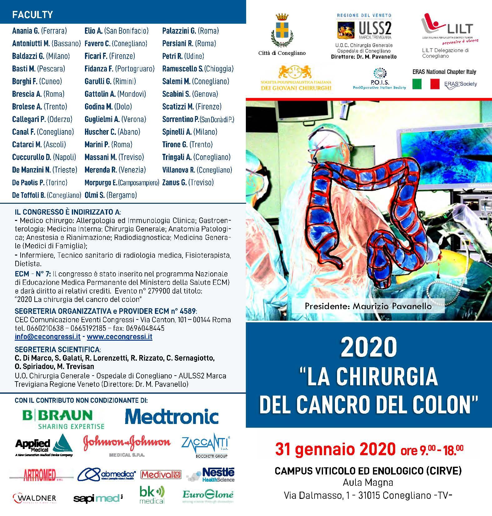 2020 La chirurgia del cancro del colon - Presidente: M. Pavanello