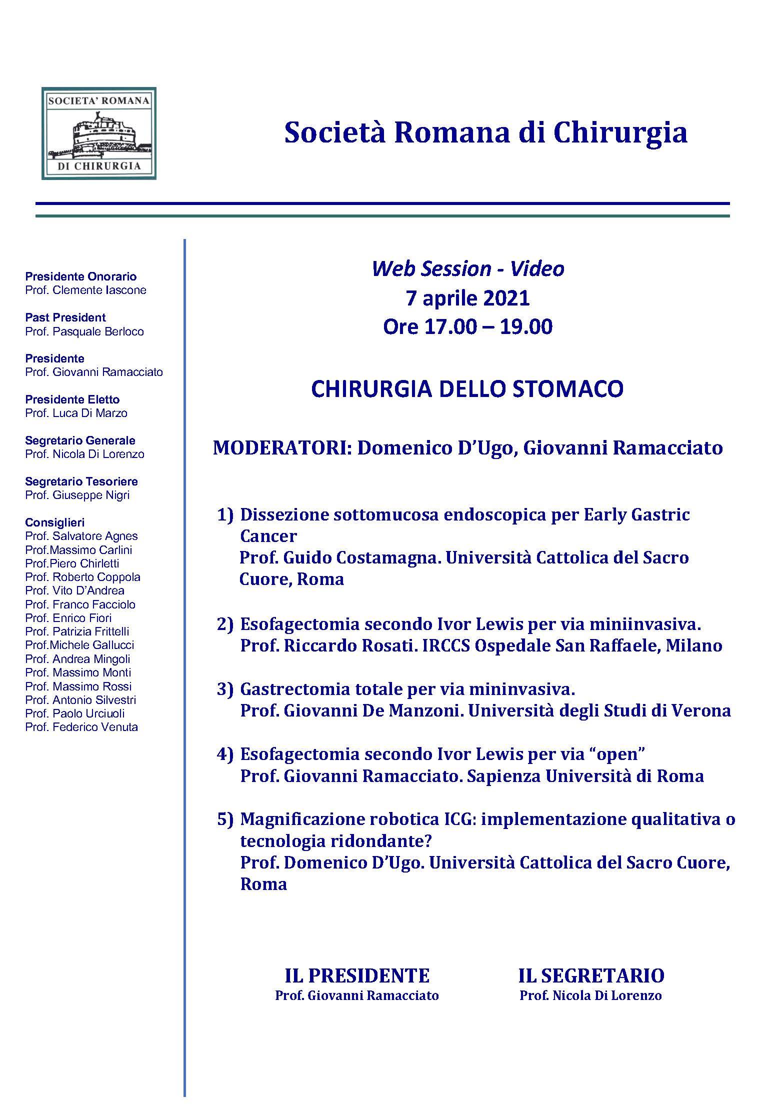 SRC - CHIRURGIA DELLO STOMACO - WEB SESSION