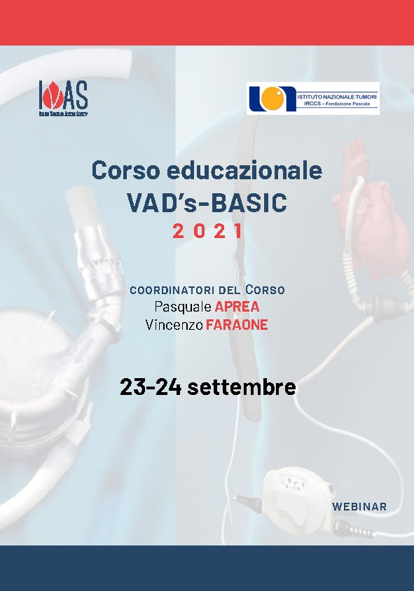 Corso Educazionale VAD's Basic 2021   23 - 24 Settembre   Webinar